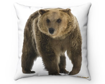 Fierce Bear Square Pillow ~ Printed Front & Back ~ Includes Insert ~ Couch ~ Sofa ~ Chair ~ 3 Sizes ~ Grizzly ~ Animals