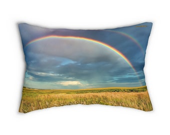Rainbow Lumbar Pillow ~ Printed Front & Back ~ Includes Insert ~ Couch ~ Sofa ~ Chair ~ Large Size 14x20 ~ Throw
