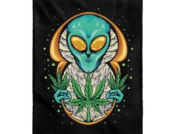 Alien Weed Plant Velveteen Plush Blanket ~ Hardcore Gamer ~ Two Sizes ~ Throw Blanket ~ Extra Soft ~ Custom ~ Cannabis