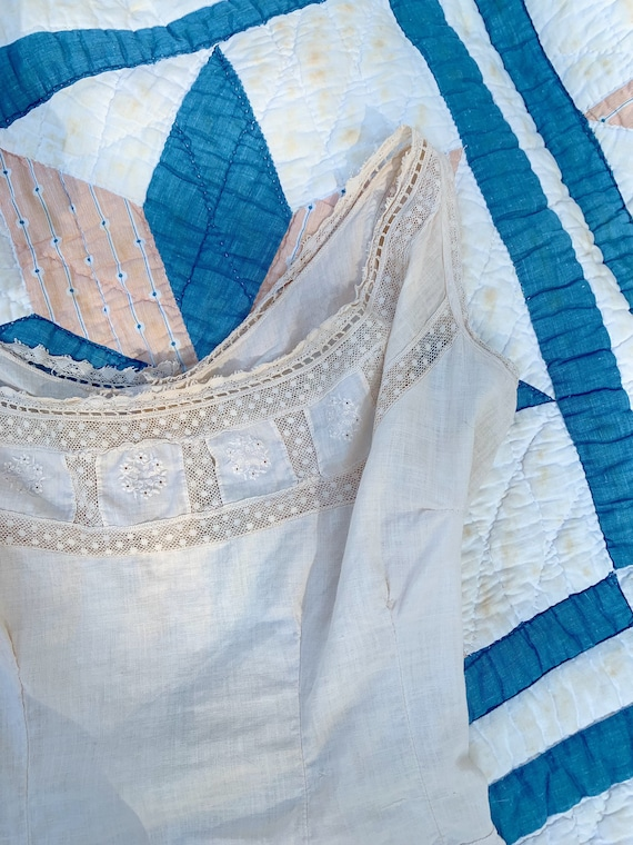 delicate naturally dyed antique cotton blouse - image 2