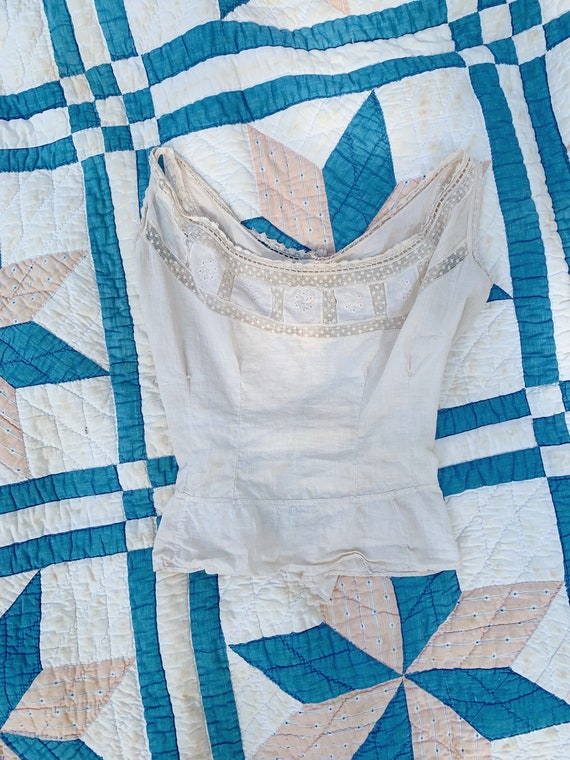 delicate naturally dyed antique cotton blouse - image 1