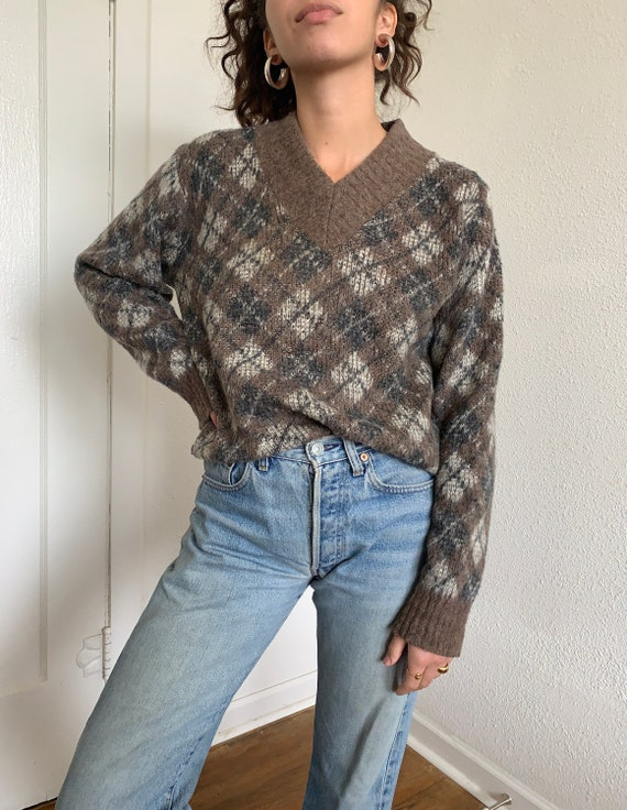 1950s Vintage Argyle Wool Sweater