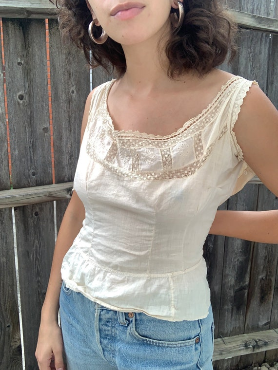 delicate naturally dyed antique cotton blouse - image 4