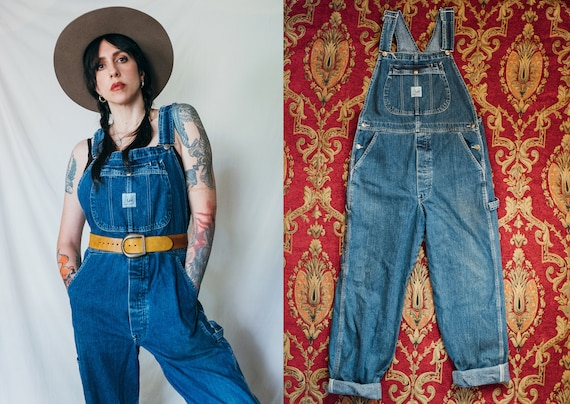 Vintage Lee Riveted Dungarees Denim Bib Carpenter