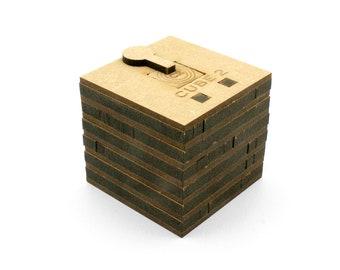 Wooden game escape box, Cube 2