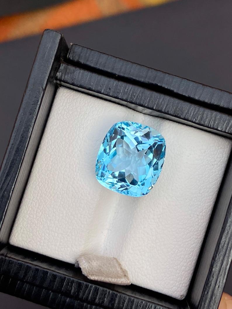 12.65 carat Swiss Blue Topaz Faceted