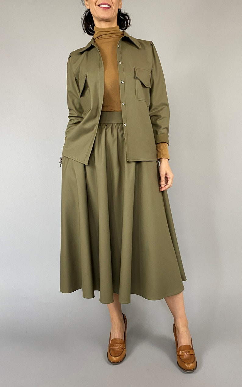 Handmade cotton matching set with skirt  for women size XXS-XL Green olive matching set with skirt with pockets