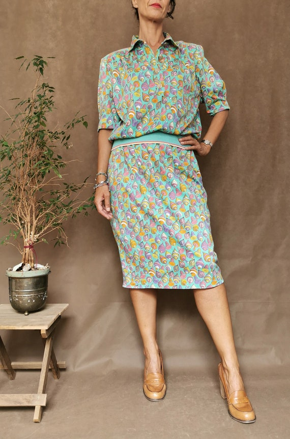Matching set with skirt and shirt, Colourful match