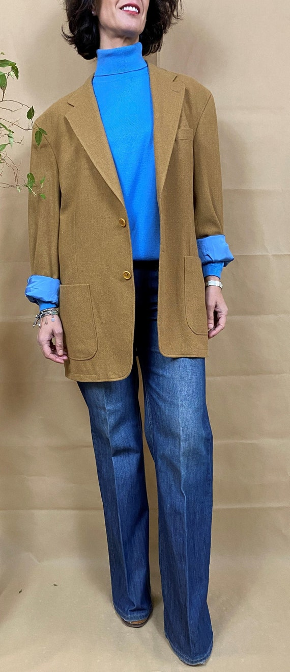 Beige wool blazer, Oversized  cashmere blazer