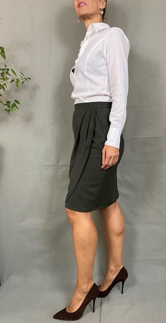 Vintage long virgin wool skirt for women  size M Office straight long wool skirt