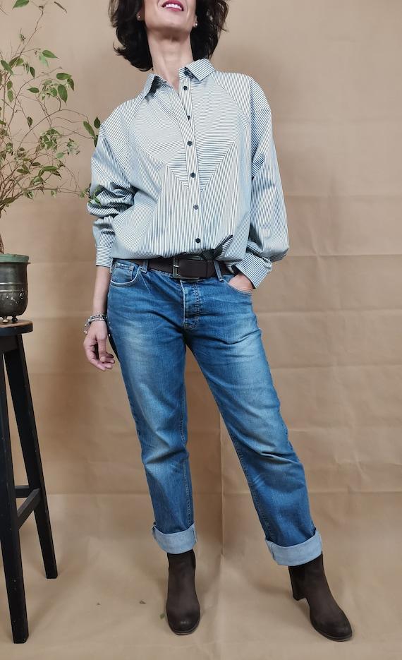 Striped  cotton shirt for women size M-L, Vintage