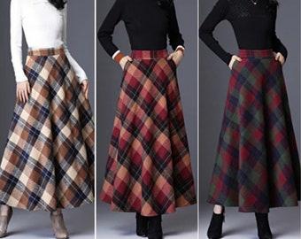 Wool Plaid Skirt Women | High Waist Warm Skirt | Midi Pleated Skirt | Winter Skirt | Plus Size Plaid Skirts | Streetwear