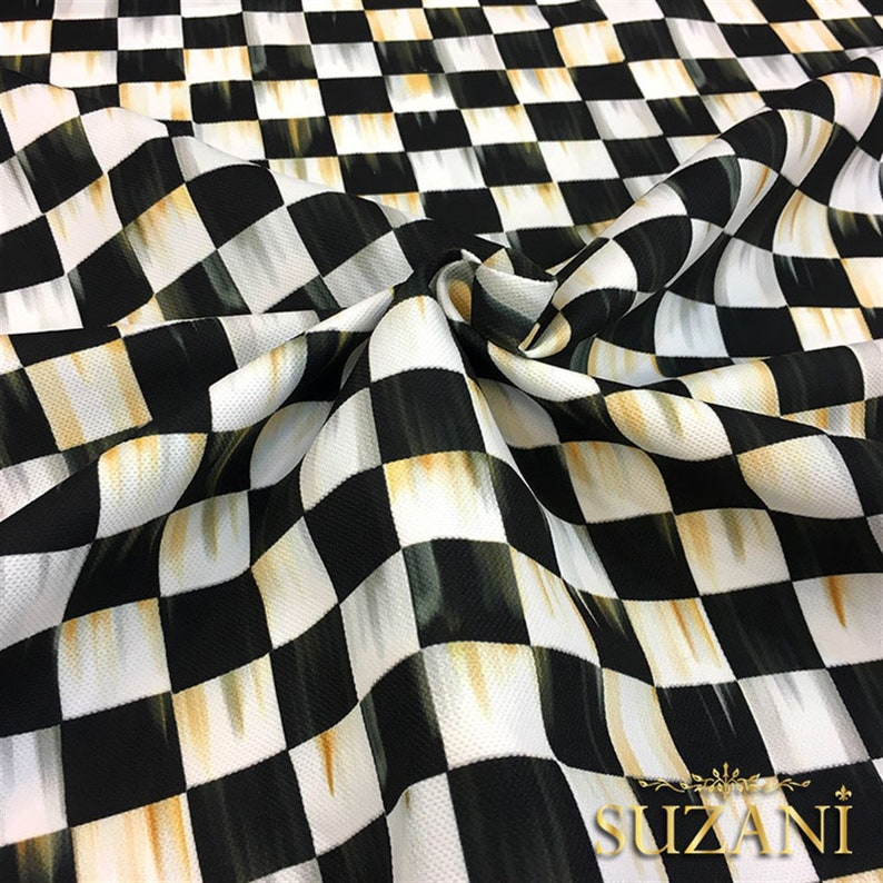Tablecloth KMS 0614 -Oil Painting Effect Checkered Fabric Digital Printed Fabric Pillow Home Decor Upholstery Curtain Unique Desing