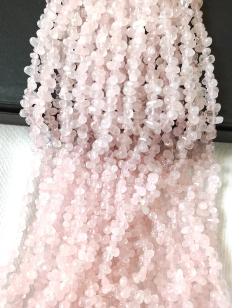 5*7 approx AAA Quality natural Rose Quartz smooth drops 13 inch strand size
