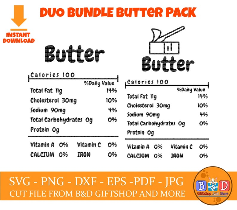 Christmas funny food SVG Family Group Shirt SVG Butter Thanksgiving food nutrition facts Duo bundle SVG