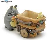 Cart Totoro Flower Pot Art - Resin Crafts Green Plant Container - Desktop Adorn Home Gardening Furnishing Cartoon