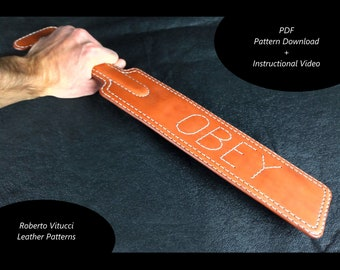 Leather Spanking Paddle Multi Size Pattern + Instructional Video
