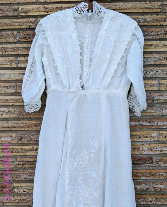 1910s Antique Edwardian Cotton Dress