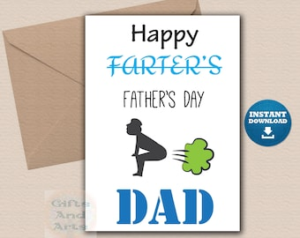 Printable Fathers day card Funny father's day card printable download Happy farters day card Digital card for Dad from daughter