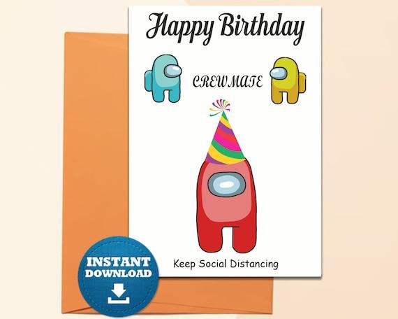 Among Us Birthday Card Printable Among Us Digital Birthday Etsy