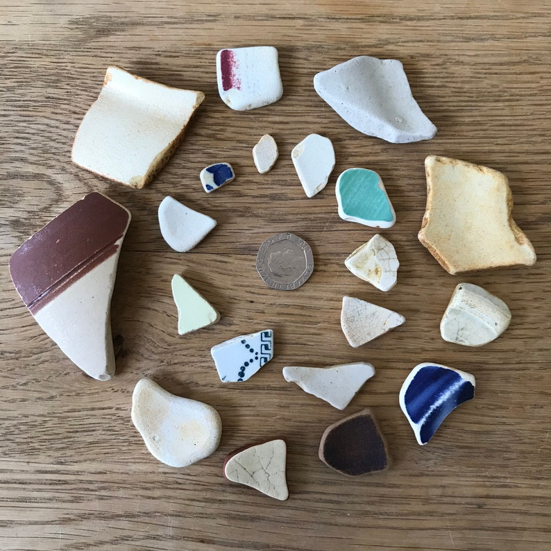 20 mixed colours and sizes collected from the shores of Shetland Sea Pottery  Ceramic