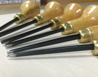 Professional straight tool set TATIANKA for linocut Straight chisels