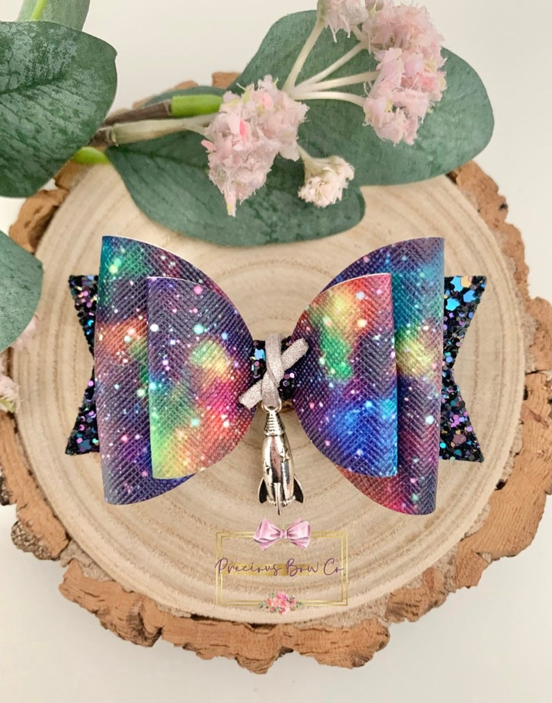 Bows For Girls Gifts For Girls Space Bows Spaceship Bows Hair Bows Galaxy Bows