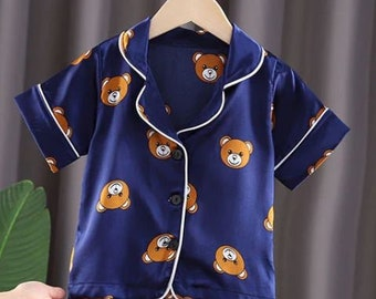 Opal Boutique Cartoon Teddy Bear Letter Girls Boys Children/'s Silk Pyjamas Short Sleeve white