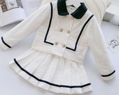 Opal Boutique Children 39 s Girls Matching 2 Piece Set Jacket Pleated Skirt White Navy Nautical Sailor Gold Button Custom Made Age 2-14 years