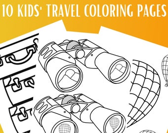 10 Kids Travel Coloring Pages   Road Trip Coloring Pages   Printable Coloring Pages   Travel Activity Pages   Gift for Kids   Travel Gift