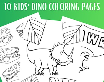 10 Kids Dinosaur Coloring Pages   Printable Coloring Page PDF  Dinosaur Coloring Pages   Gift for Kids   Boy Gift    Coloring Pages  