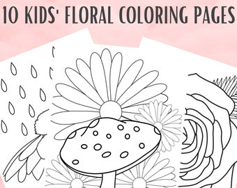 10 Kids Floral Coloring Pages   Flower Coloring Page PDF   Printable Coloring Pages   Botanical Coloring Pages   Gift for Kids   Girl Gift