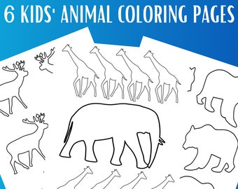 6 Kids Animal Coloring Pages   Printable Coloring Page PDF  Animal Coloring Pages   Gift for Kids   Gift for Girl   Gift for Boy   Coloring