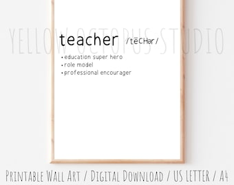 Teacher Definition Art Print   Teacher Wall Decor   Dictionary Wall Art Print   Classroom Wall Art   Printable Wall Art   Teacher Gift