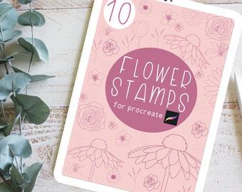 10 Flower Procreate Stamp Brushes   Digital Procreate Brushes   Botanical Procreate Stamps   Gift for Digital Artist   Digital Art Gift