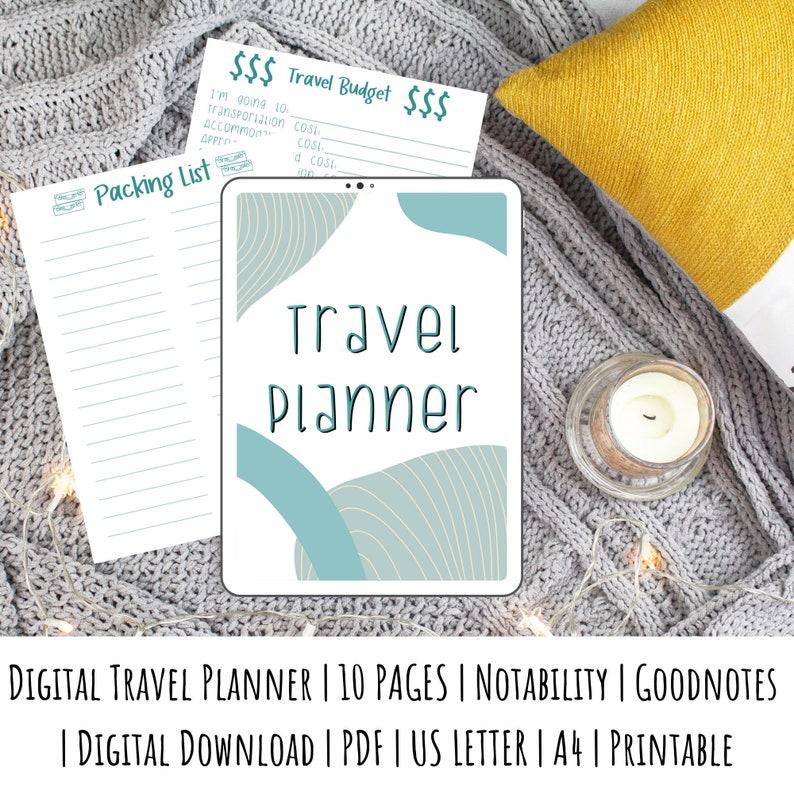 Blue Travel Planner  Digital Travel Planner  Printable image 0