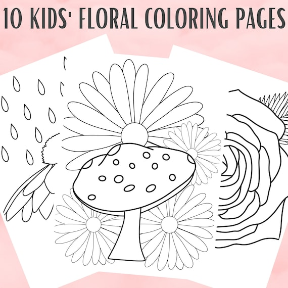 10 Kids Floral Coloring Pages  Flower Coloring Page PDF