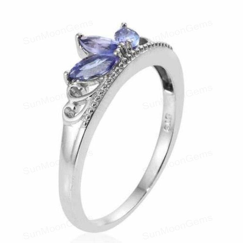 Solitaire Band 14k White Gold Ring Wedding Band Birthday Gift December Birthstone Anniversary Gift Ring For women Tanzanite Band