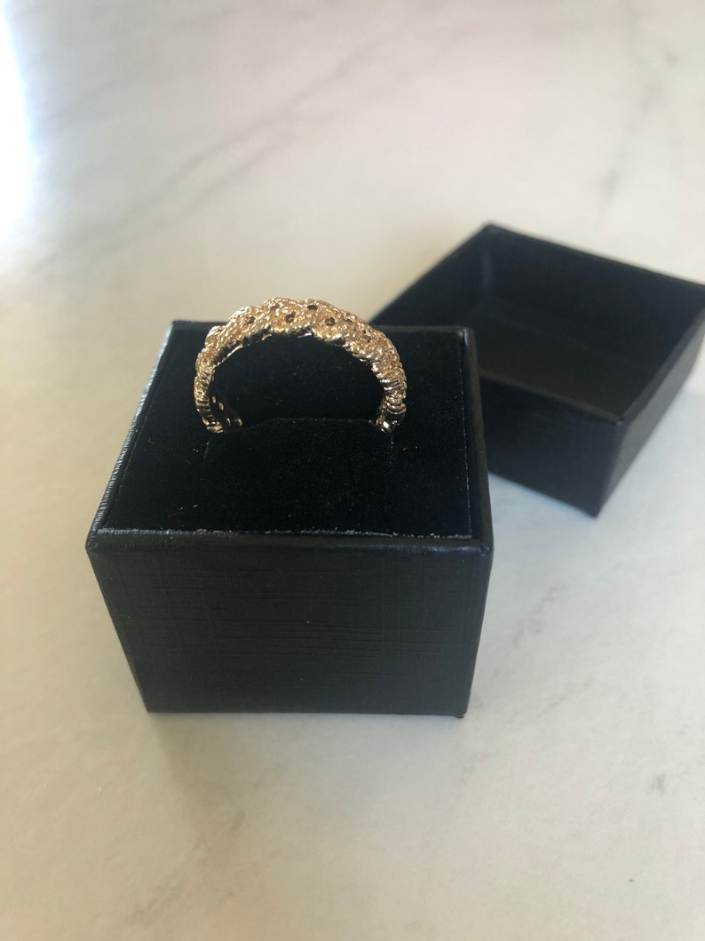 Vintage Gold Antique Cocktail Ring Circa 1960s in Braided Rope Motif Gold-Coated Ring Perfect for Layering w other Mixed-Material Pieces