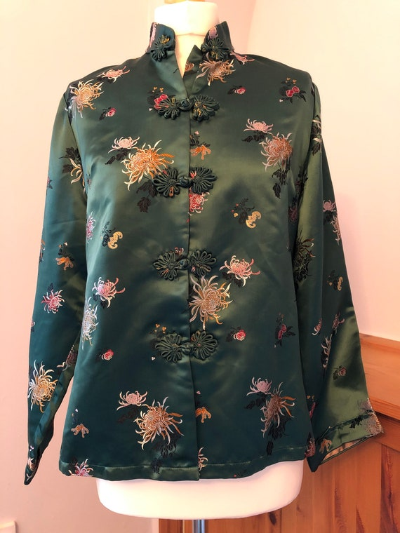 Vintage silk lounge jacket/1960s Peony brand Shang