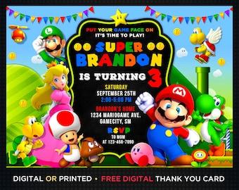 Super Mario Invitation Etsy