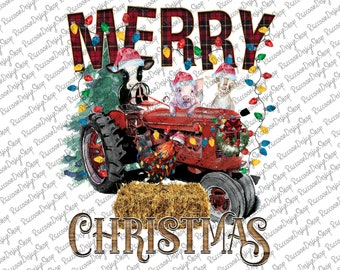Merry Christmas Farm Animals Png, Christmas Animals, Digital Download, Png, Merry Christmas,Christmas Png,Sublimation Designs Downloads