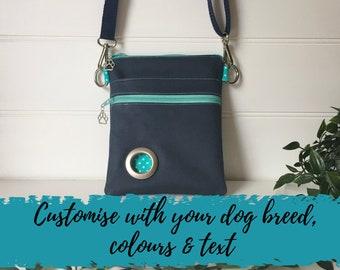 CUSTOM ORDER Dog walking bag, Ideal Christmas Gift for dog owner,Dog bag with poo bag dispensing pocket,walking bag for dog owners