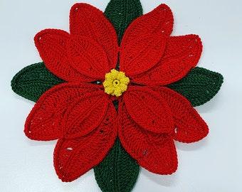 Poinsettia Applique Ornament Crochet Pattern - PATTERN ONLY