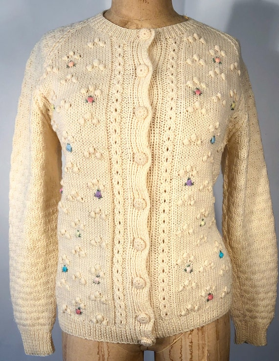 Vintage 1950s Popcorn Cable Knit Tyrolean Cardigan