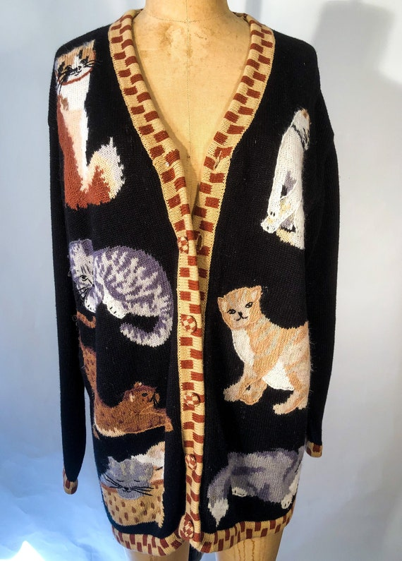 Vintage 1990s Storybook Knits Themed Cat Cardigan
