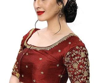 Red Designer Chanderi Brocade Art Silk Readymade Padded Choli Stitched Saree Blouse Top Tunic Blouse Bridal Bridesmaid Wedding Blouse