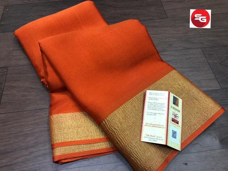 Orange Mysore Handloom Crepe Silk Saree Women Engagement Wear Designer Weaving Fabric Durga Puja Sari Bollywood Wedding SILK MARK CERTIFIED