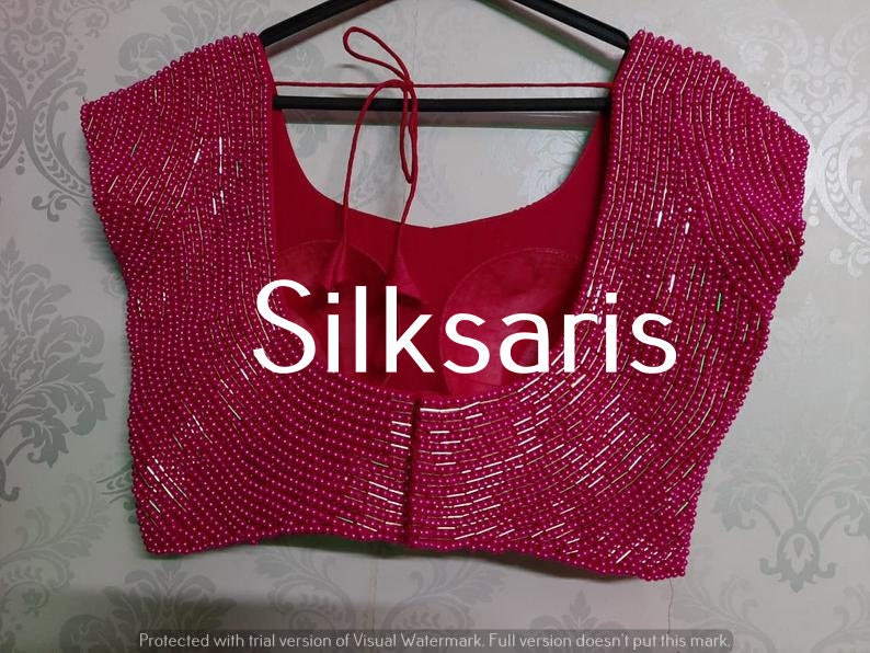 Pink Readymade Blouse Designer Saree Blouse Pearl Beaded Embroidered Real Mirror Stone Silk Indian Wedding Wear Fabric Craft Tunic Top