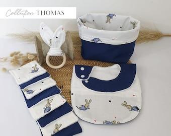 Baby box collection Thomas boy birth kit, blue bunnies patterns